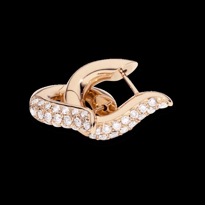 Ohrring Tamara Comolli Drop Hoops medium Pavé aus 750 Roségold mit mehreren Brillanten (2 x 0,375 Karat)