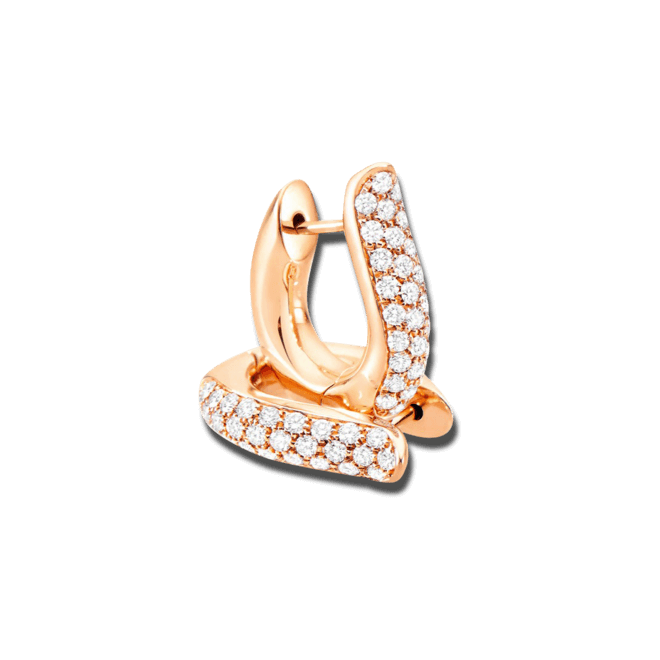 Ohrring Tamara Comolli Drop Hoops Pavé aus 750 Roségold mit mehreren Brillanten (2 x 0,375 Karat)