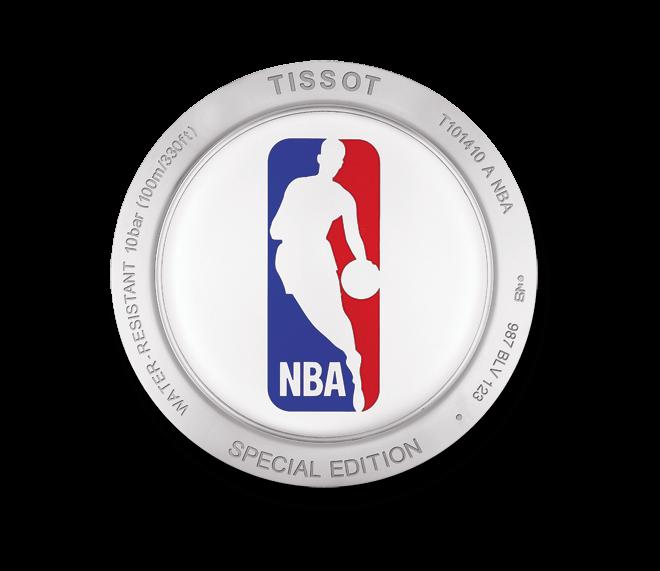 Herrenuhr Tissot PR 100 Gent NBA mit silberfarbenem Zifferblatt und Edelstahlarmband
