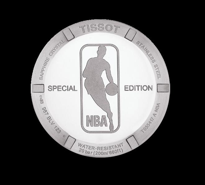Herrenuhr Tissot PRC 200 Quartz Chronograph Gent NBA mit weißem Zifferblatt und Edelstahlarmband