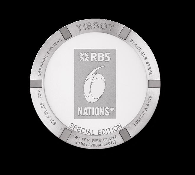 Herrenuhr Tissot PRC 200 Rugby RBS 6 Nations mit weißem Zifferblatt und Kautschukarmband
