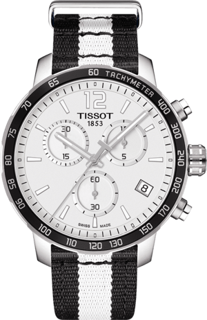 Herrenuhr Tissot Quickster NBA Teams Brooklyn Nets mit weißem Zifferblatt und Synthetikarmband