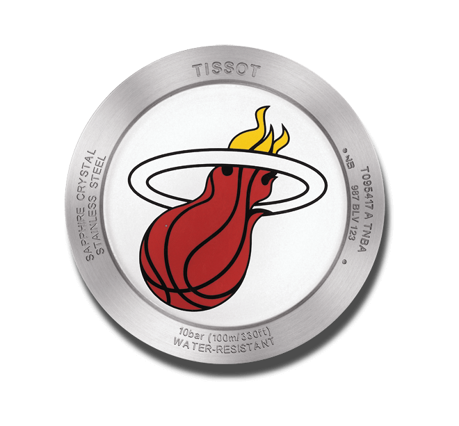 Herrenuhr Tissot Quickster NBA Teams Miami Heat mit weißem Zifferblatt und Synthetikarmband