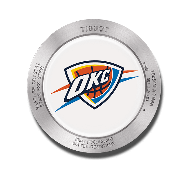 Herrenuhr Tissot Quickster NBA Teams Oklahoma City Thunder mit weißem Zifferblatt und Synthetikarmband