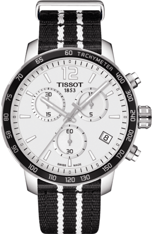Herrenuhr Tissot Quickster NBA Teams San Antonio Spurs mit weißem Zifferblatt und Synthetikarmband