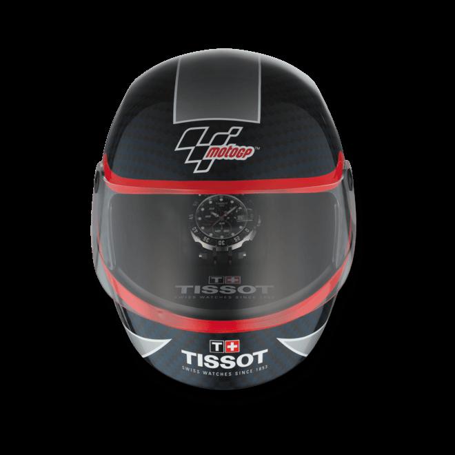 Herrenuhr Tissot T-Race MotoGP 2015 Quartz Chronograph mit schwarzem Zifferblatt und Silikonarmband