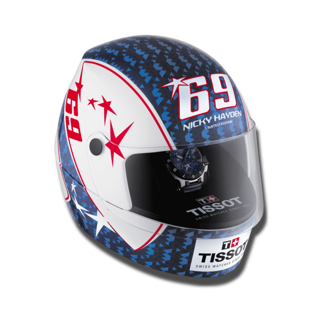 Herrenuhr Tissot T-Race Nicky Hayden 2014 mit blauem Zifferblatt und Silikonarmband