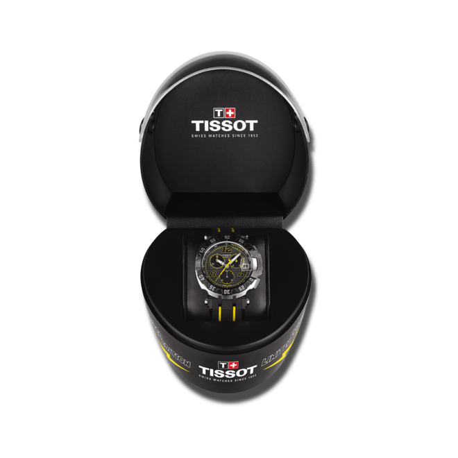 Herrenuhr Tissot T-Race Thomas Lüthi 2016 mit schwarzem Zifferblatt und Silikonarmband