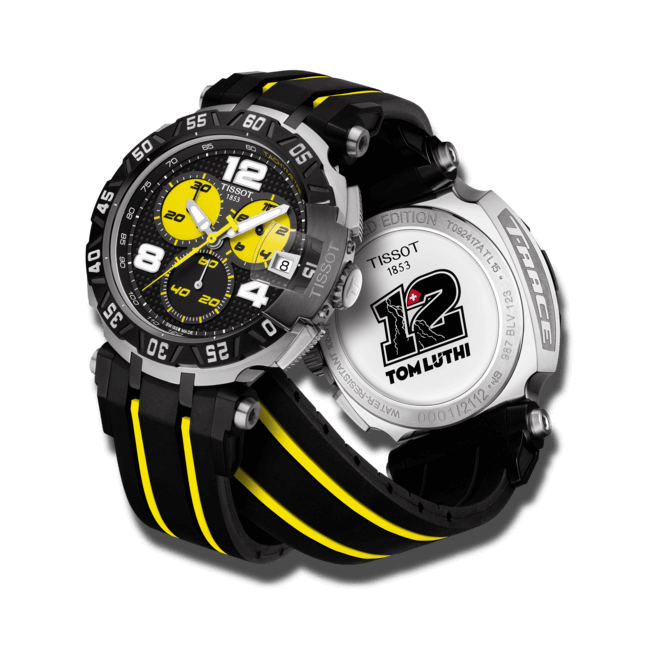 Herrenuhr Tissot T-Race Thomas Luthi 2015 mit zweifarbigem Zifferblatt und Silikonarmband