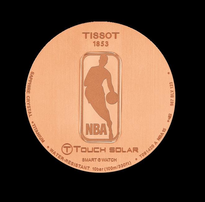 Herrenuhr Tissot T-Touch Expert Solar NBA mit schwarzem Zifferblatt und Kautschukarmband