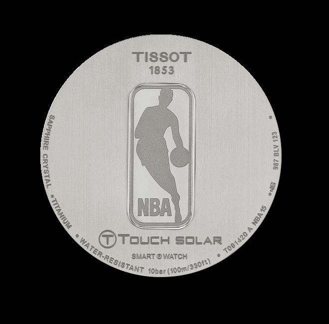 Herrenuhr Tissot T-Touch Expert Solar NBA mit lilafarbenem Zifferblatt und Kautschukarmband