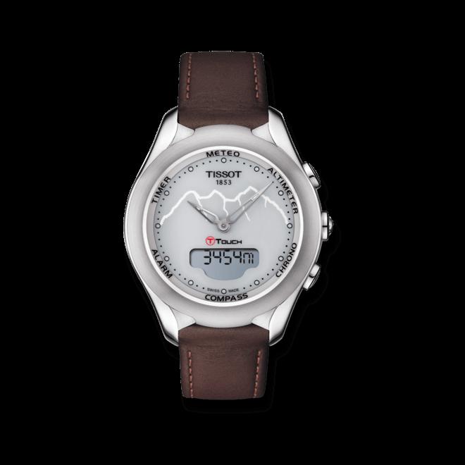 Damenuhr Tissot T-Touch Lady Solar Jungfraubahn mit grauem Zifferblatt und Kalbsleder-Armband