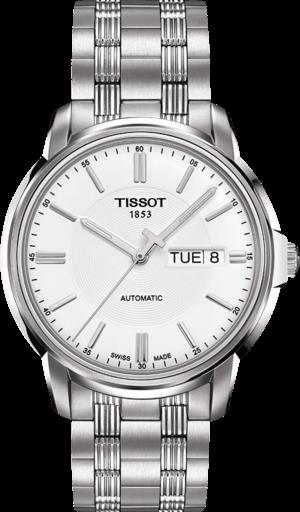 Herrenuhr Tissot Automatics III Day Date mit weißem Zifferblatt und Edelstahlarmband