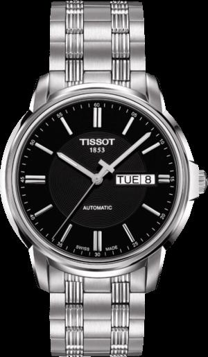 Herrenuhr Tissot Automatics III Day Date mit schwarzem Zifferblatt und Edelstahlarmband