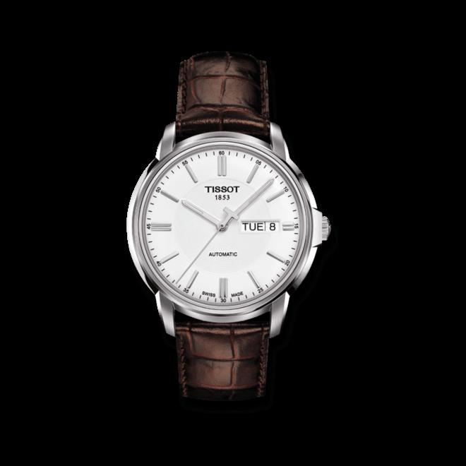 Herrenuhr Tissot Automatics III Day Date mit weißem Zifferblatt und Kalbsleder-Armband bei Brogle