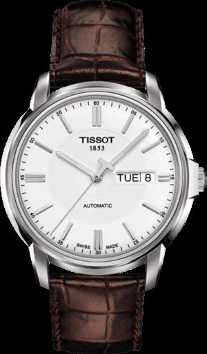 Herrenuhr Tissot Automatics III Day Date mit weißem Zifferblatt und Kalbsleder-Armband