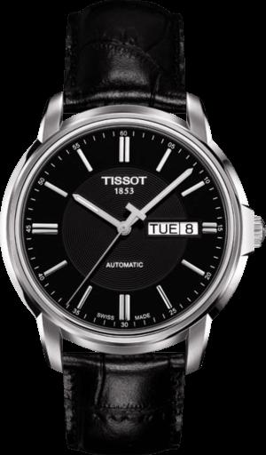 Herrenuhr Tissot Automatics III Day Date mit schwarzem Zifferblatt und Kalbsleder-Armband