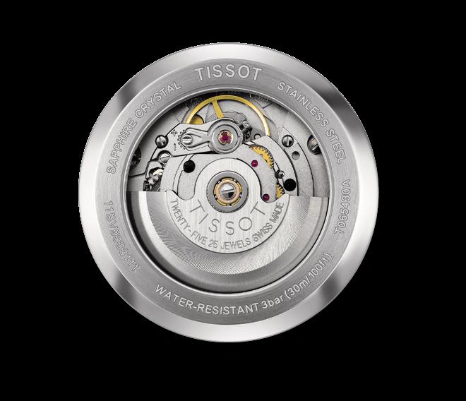 Herrenuhr Tissot Automatics III Day Date mit schwarzem Zifferblatt und Kalbsleder-Armband bei Brogle