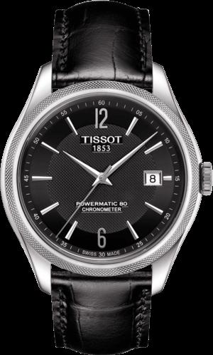 Herrenuhr Tissot Ballade Powermatic Gent COSC mit schwarzem Zifferblatt und Armband aus Kalbsleder mit Krokodilprägung