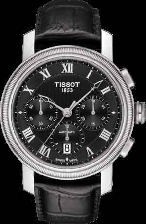 Herrenuhr Tissot Bridgeport Automatic Chronograph Gent mit schwarzem Zifferblatt und Armband aus Kalbsleder mit Krokodilprägung