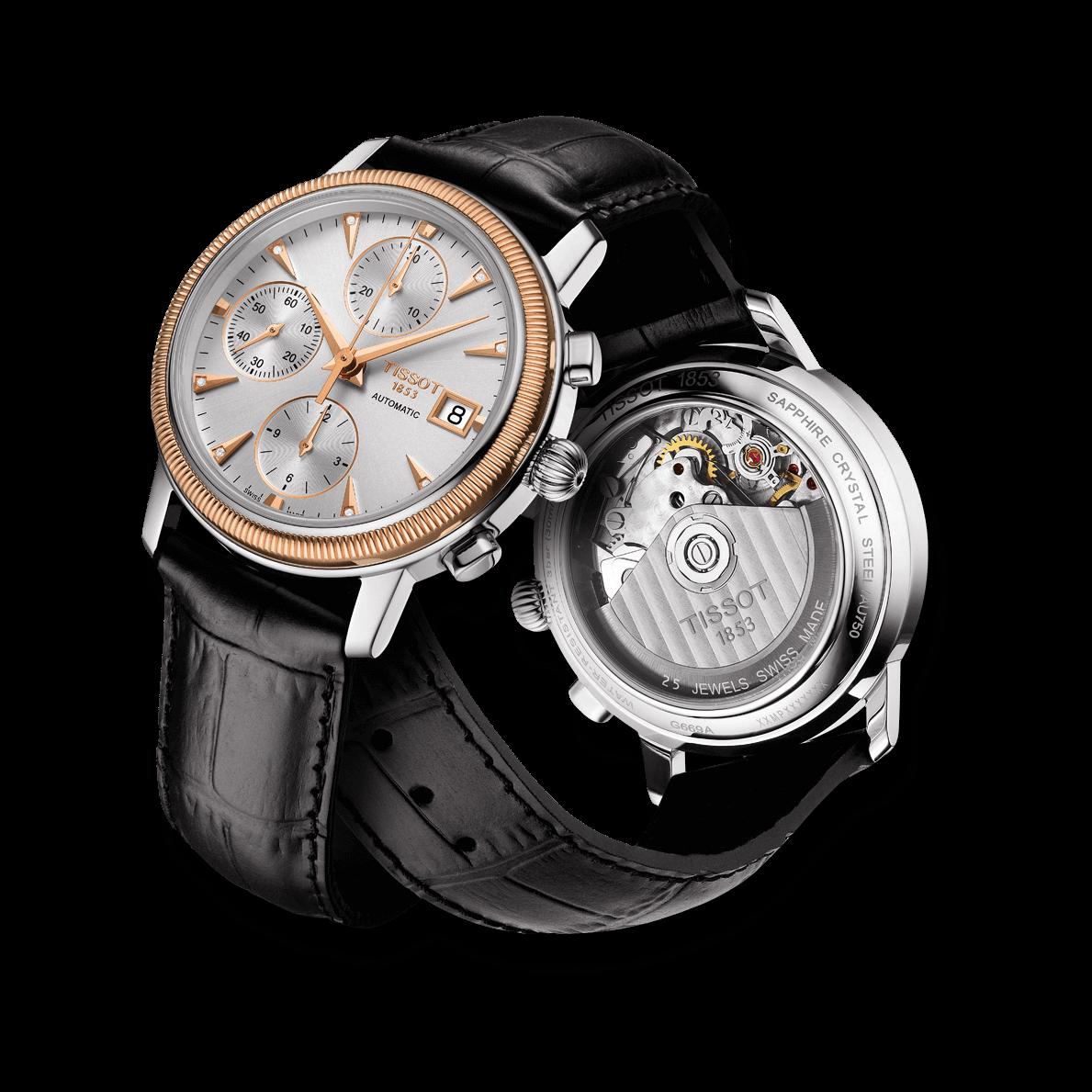 8cb3f0ce3 Herrenuhr Tissot Bridgeport Automatic Chronograph Gent mit Diamanten,  silberfarbenem Zifferblatt und Armband aus Kalbsleder mit
