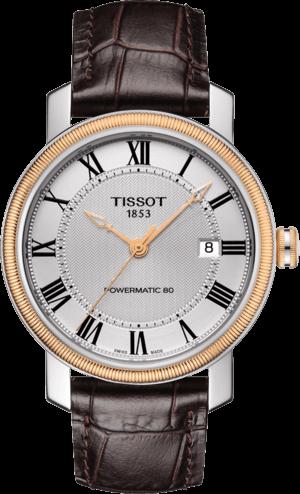 Herrenuhr Tissot Bridgeport Automatic Gent mit silberfarbenem Zifferblatt und Kalbsleder-Armband