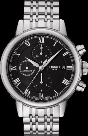 Herrenuhr Tissot Carson Automatic Chronograph mit schwarzem Zifferblatt und Edelstahlarmband