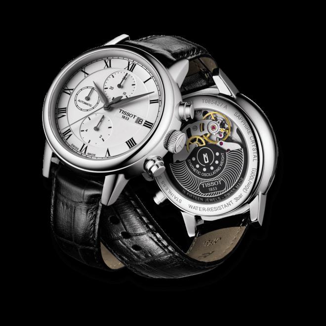 Herrenuhr Tissot Carson Automatic Chronograph mit silberfarbenem Zifferblatt und Kalbsleder-Armband