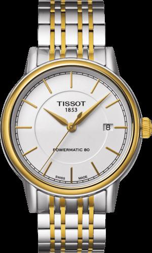 Herrenuhr Tissot Carson Automatic Gent mit weißem Zifferblatt und Edelstahlarmband