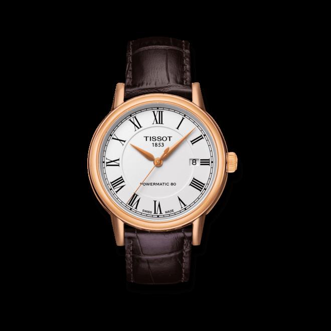Herrenuhr Tissot Carson Automatic Gent mit weißem Zifferblatt und Kalbsleder-Armband