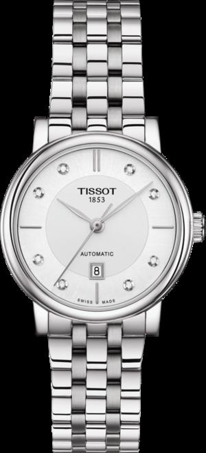 Damenuhr Tissot Carson Automatic Lady mit Diamanten, weißem Zifferblatt und Edelstahlarmband