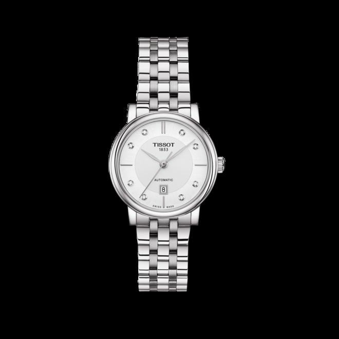 Damenuhr Tissot Carson Automatic Lady mit Diamanten, weißem Zifferblatt und Edelstahlarmband bei Brogle