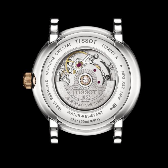 Damenuhr Tissot Carson Premium Automatic Lady mit silberfarbenem Zifferblatt und Edelstahlarmband bei Brogle