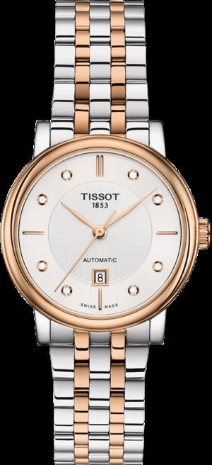 Damenuhr Tissot Carson Premium Automatic Lady mit Diamanten, silberfarbenem Zifferblatt und Edelstahlarmband