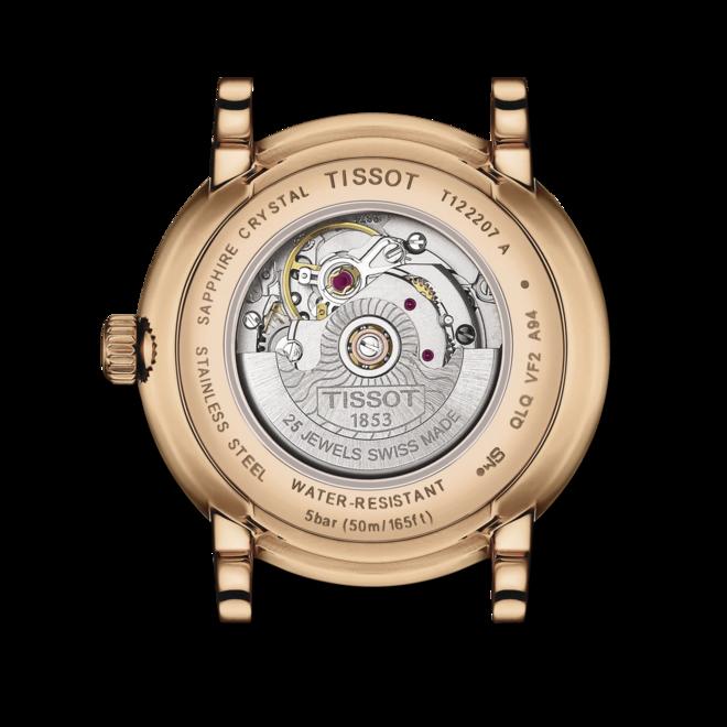 Damenuhr Tissot Carson Premium Automatic Lady mit silberfarbenem Zifferblatt und Rindsleder-Armband bei Brogle