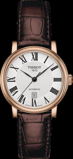 Damenuhr Tissot Carson Premium Automatic Lady mit silberfarbenem Zifferblatt und Rindsleder-Armband