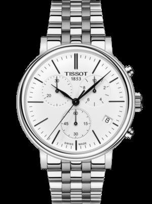 Herrenuhr Tissot Carson Premium Chronograph mit weißem Zifferblatt und Edelstahlarmband