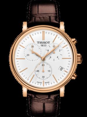 Herrenuhr Tissot Carson Premium Chronograph mit weißem Zifferblatt und Armband aus Kalbsleder mit Krokodilprägung