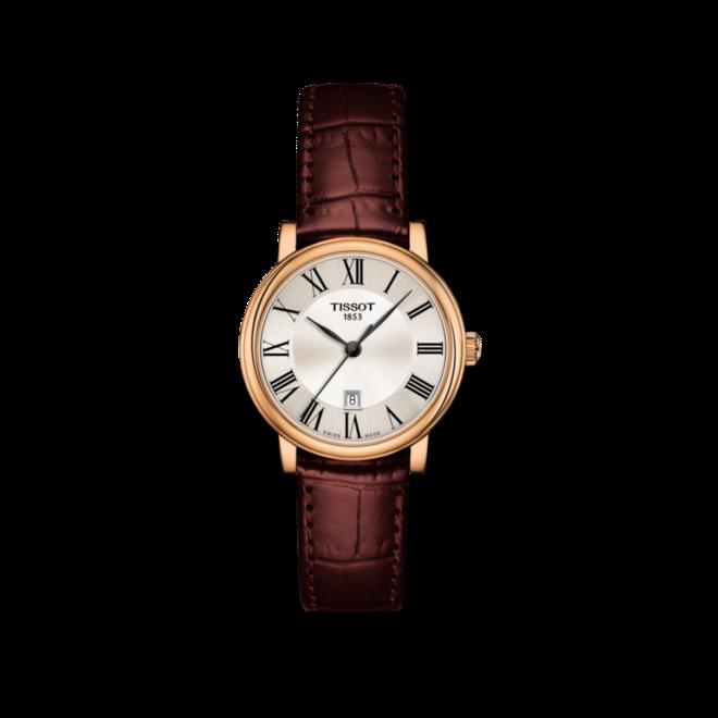 Damenuhr Tissot Carson Premium Lady mit silberfarbenem Zifferblatt und Armband aus Kalbsleder mit Krokodilprägung bei Brogle