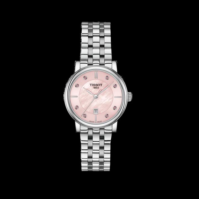Damenuhr Tissot Carson Premium Quarz Lady mit pinkem Zifferblatt und Edelstahlarmband bei Brogle
