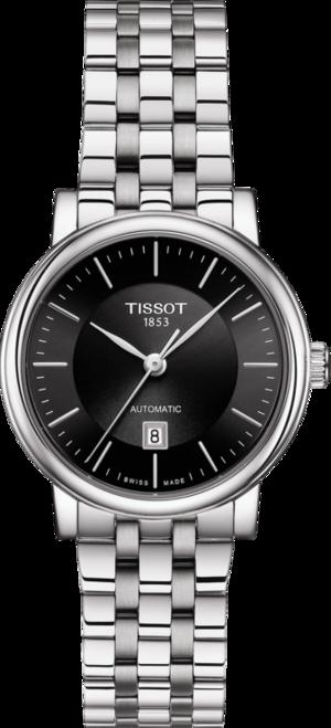 Damenuhr Tissot Carson Premium mit schwarzem Zifferblatt und Edelstahlarmband