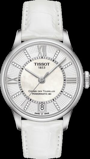 Damenuhr Tissot T-Classic Chemin des Tourelles Automatik mit Diamanten, perlmuttfarbenem Zifferblatt und Kalbsleder-Armband