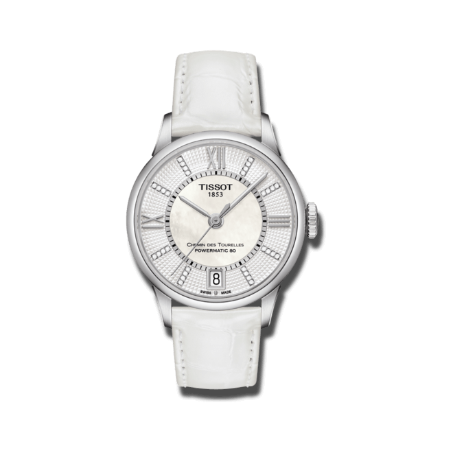 Damenuhr Tissot T-Classic Chemin des Tourelles Automatik mit Diamanten, perlmuttfarbenem Zifferblatt und Kalbsleder-Armband bei Brogle