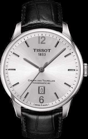 Herrenuhr Tissot Chemin des Tourelles Powermatic 80 Gent mit silberfarbenem Zifferblatt und Armband aus Kalbsleder mit Krokodilprägung