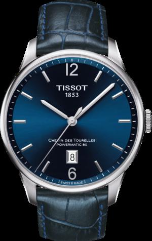 Herrenuhr Tissot Chemin des Tourelles Powermatic 80 Gent mit blauem Zifferblatt und Armband aus Kalbsleder mit Krokodilprägung