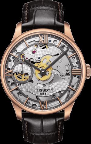 Herrenuhr Tissot Chemin des Tourelles Squelette mit transparentem Zifferblatt und Kalbsleder-Armband