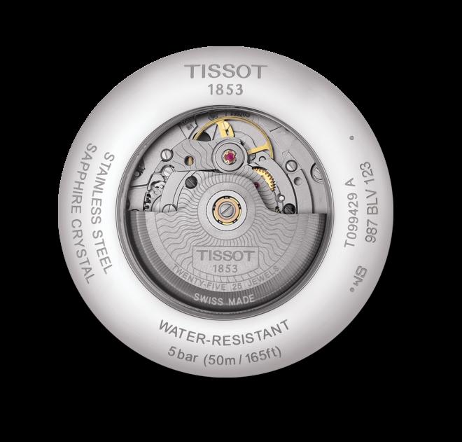 Herrenuhr Tissot Chemin des Tourellles GMT Powermatic mit schwarzem Zifferblatt und Armband aus Kalbsleder mit Krokodilprägung bei Brogle