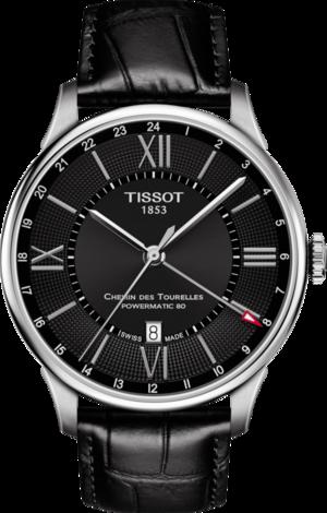 Herrenuhr Tissot Chemin des Tourellles GMT Powermatic mit schwarzem Zifferblatt und Armband aus Kalbsleder mit Krokodilprägung