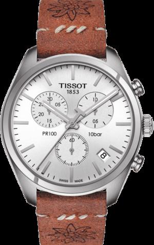 Herrenuhr Tissot Chronograph Fête Lutte Suisse mit silberfarbenem Zifferblatt und Kalbsleder-Armband