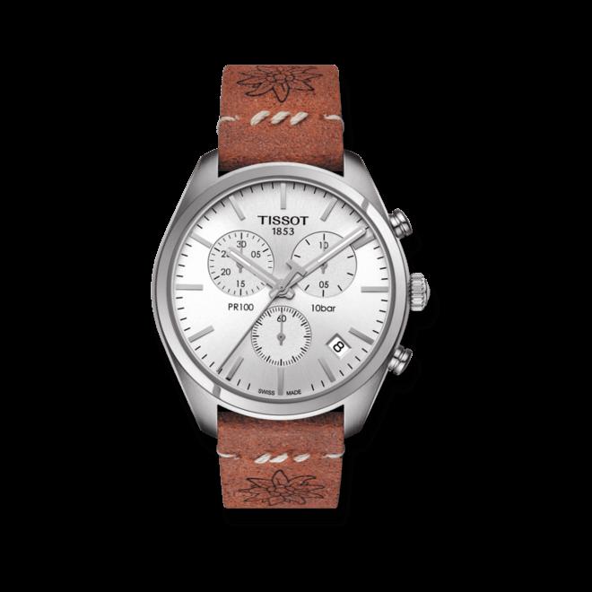 Herrenuhr Tissot Chronograph Fête Lutte Suisse mit silberfarbenem Zifferblatt und Kalbsleder-Armband bei Brogle